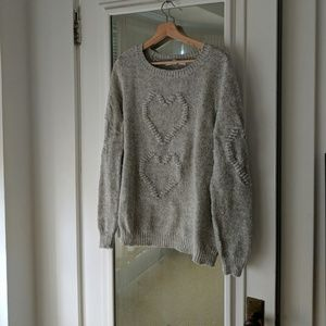 LC Lauren Conrad Gray Raised Heart Sweater